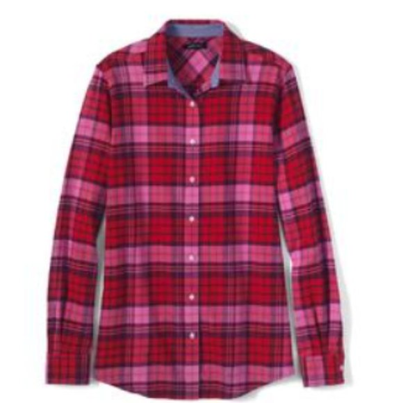 3x Lands End Flannel Button Down shirt